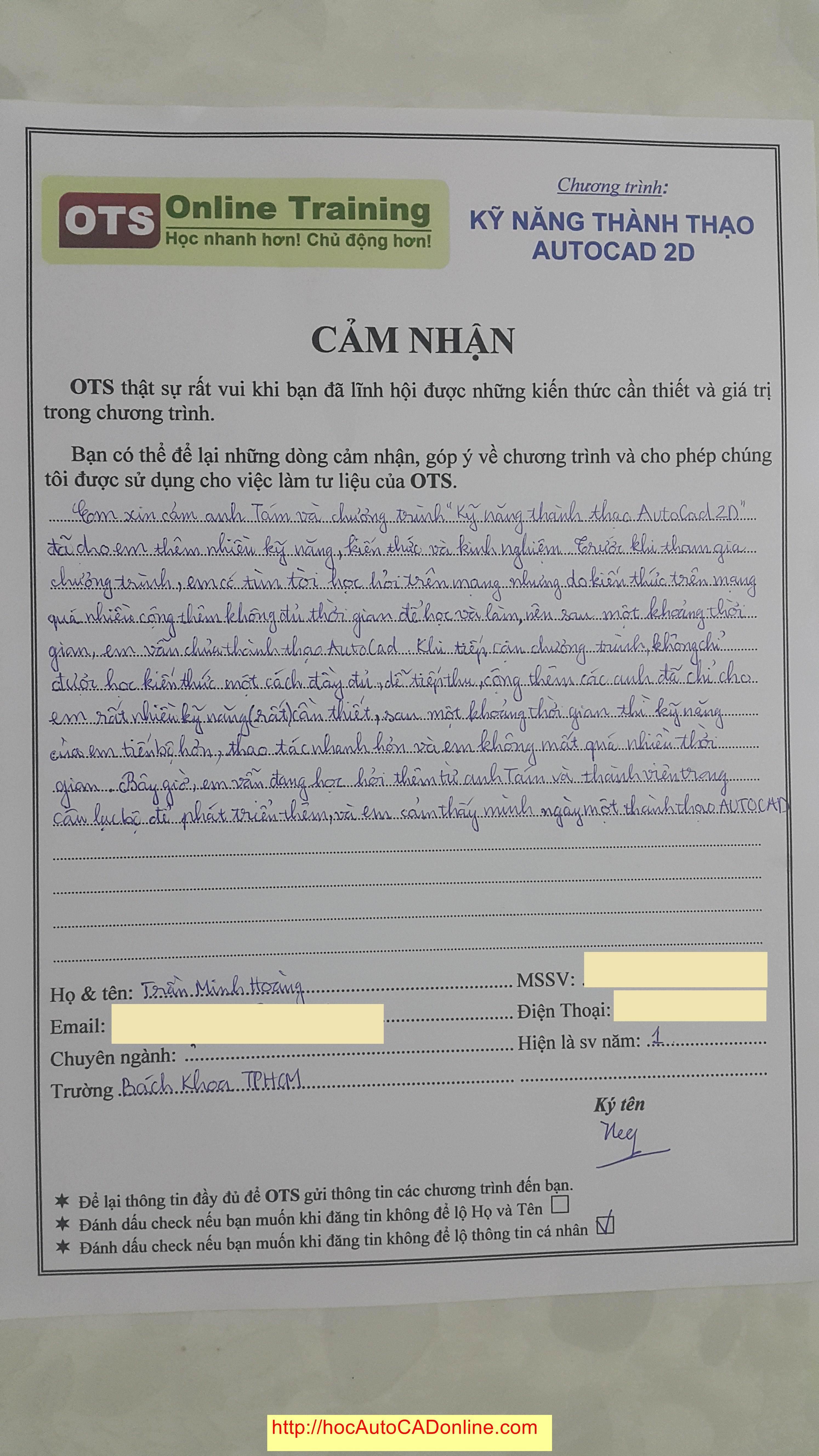 Cam nhan hoc AutoCAD online cua Tran Minh Hoang - Dai Hoc Bach Khoa TPHCM