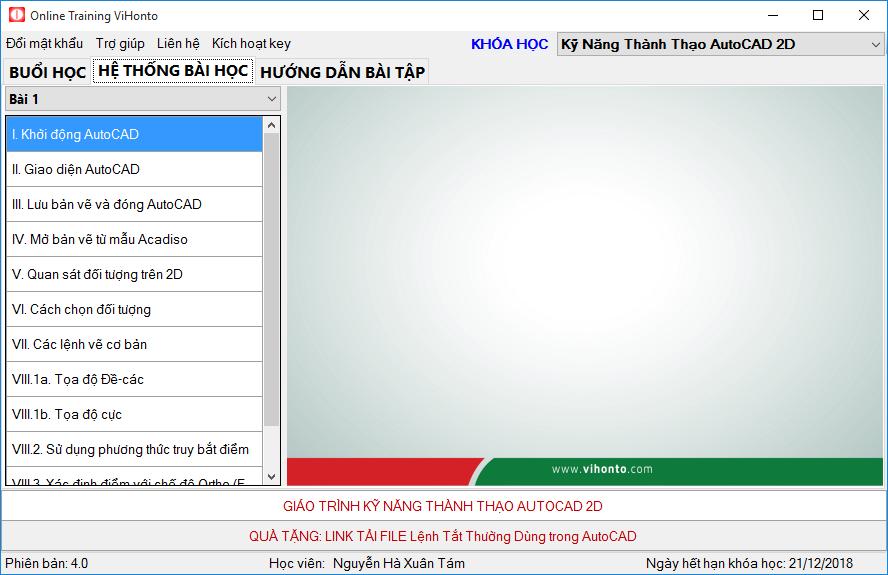 Man hinh cho cua Online Training ViHonto 4.0