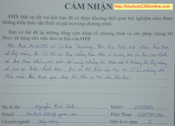 cam nhan hoc autocad online cua Nguyen Duc Linh 12-03-2015