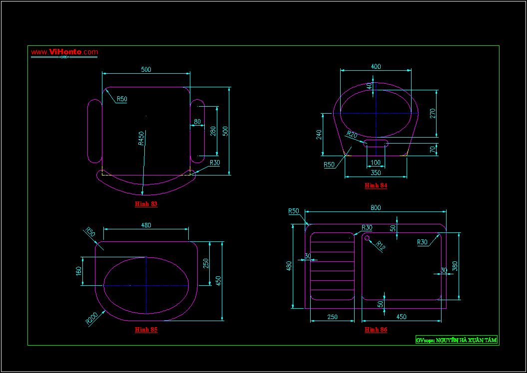Bài tập luyện khả năng phân tích hình - Trình bày bản vẽ kỹ thuật với AutoCAD