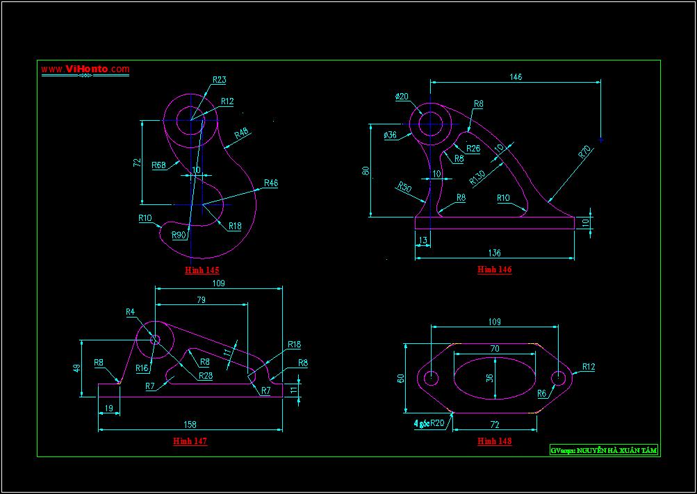 Bài tập luyện phương pháp tạo hình - trình bày bản vẽ kỹ thuật với AutoCAD