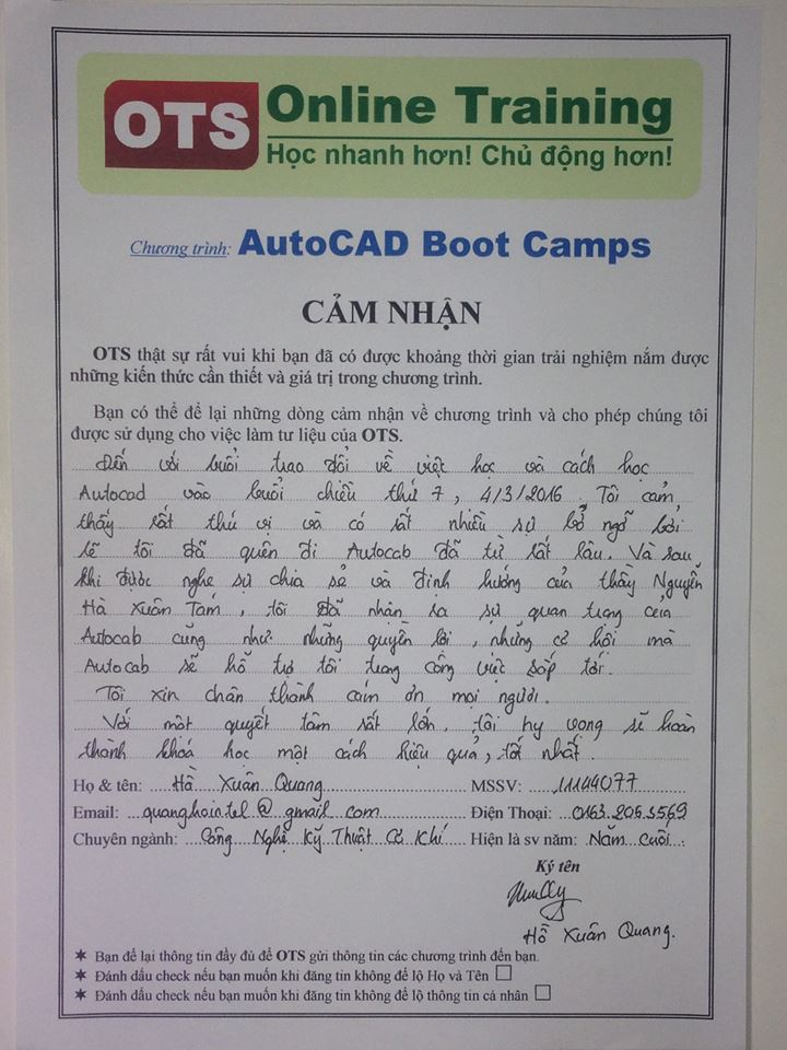 Cam nhan ve AutoCAD Boot Camps 1