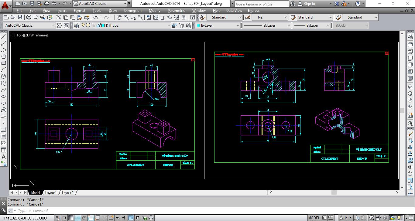 AutoCAD 3D xuất bản vẽ hình chiếu cắt kết hợp với hình chiếu trục đo