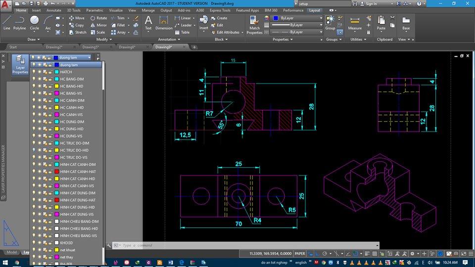 Bản vẽ của học viên Vũ Tá Dương sau khi tham gia khóa học AutoCAD 3D ứng dụng khoảng 3 tuần