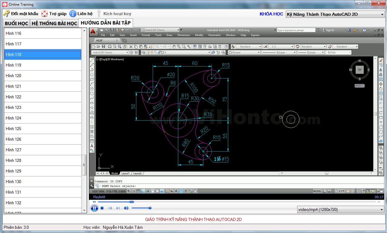 Giao dien khoa hoc AutoCAD 2D Online - Ky nang thanh thao AutoCAD 2D