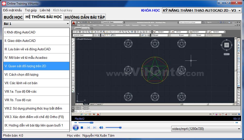 Khoa Hoc Ky Nang Thanh Thao AutoCAD 2D tren phan mem Online Training ViHonto
